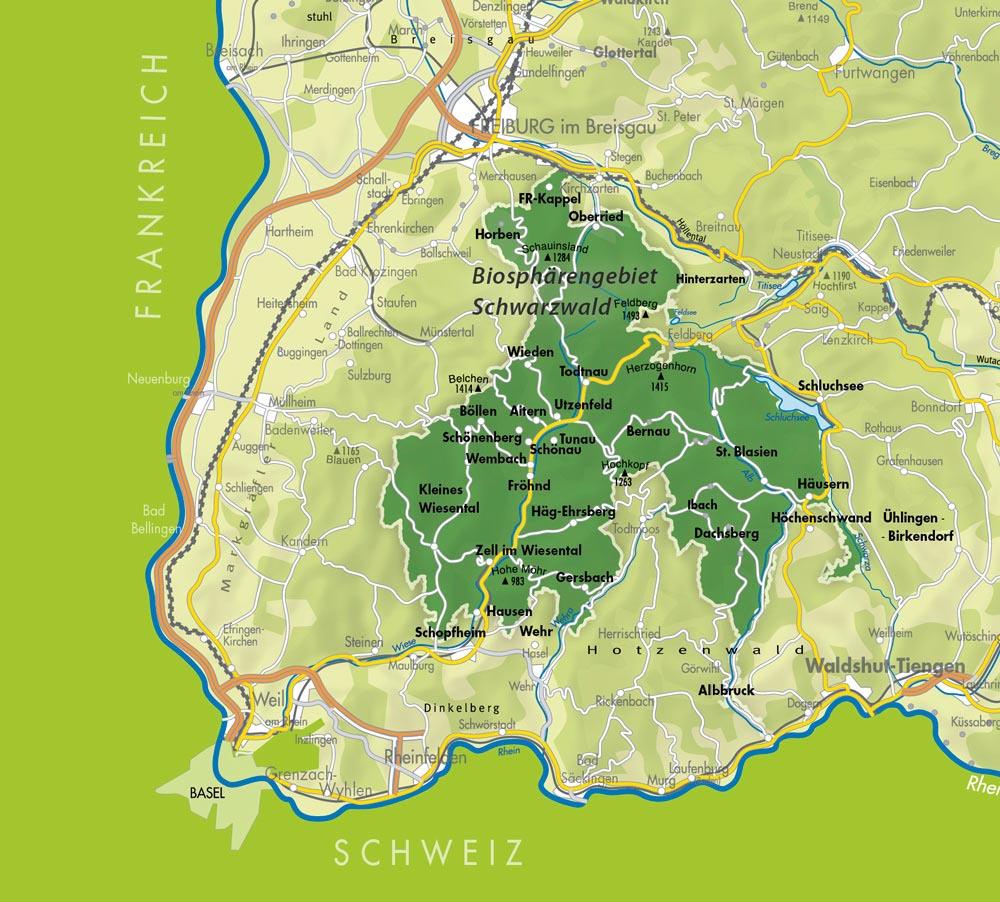 Südschwarzwald Karte.Natur Und Lebensräume Biosphärengebiet Schwarzwald